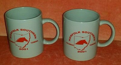 Lot of 2-NORFOLK SOUTHERN Railway-Columbus Terminal Coffee Mugs 2001 EXCELLENT+