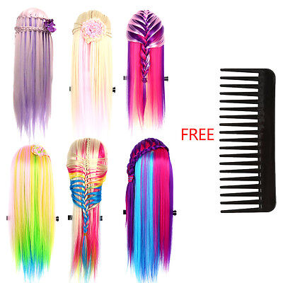 Colorful Beauty Salon Human Hair Mannequin Practice Training Head Hairdressing