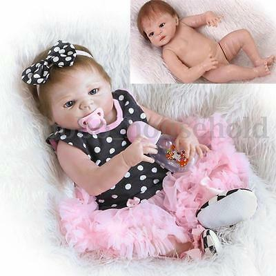 23'' Handmade Full Silicone Reborn Baby Doll Girl Body Lovely Newborn Vinyl Toy
