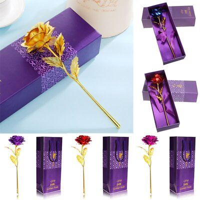 Lovely 24k Gold Plated Real Rose Unique Gift Anniversary Mothers Day Girlfriends