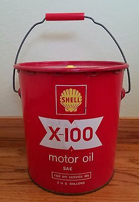 Shell X-100 Motor Oil Can with Handle 2 Gallon Red Yellow USA