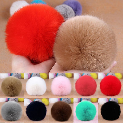 Rabbit Fur Big Ball PomPom Phone Car Keychain Handbag Charm Key Ring 8cm