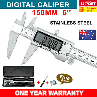 150mm 6'' Stainless Steel Electronic Digital LCD Vernier Caliper Micrometer