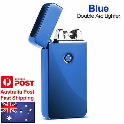 AU Blue Rechargeable Electric Lighter Double Arc USB Windproof Flameless Plasma