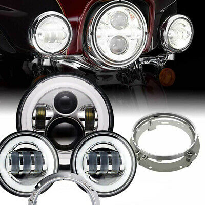 "7"" LED Daymaker Headlight Passing Lamps For Harley Davidson Touring Road King"