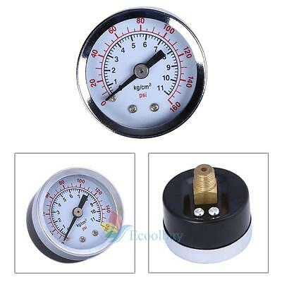 "1/8"" NPT 160 PSI 1.5"" Face Back Mounted Air Compressor Hydraulic Pressure Gauge"
