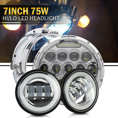 Daymaker Style 7inch CREE LED Headlight  2x 4.5inch Fog Lamp for Harley Davidson