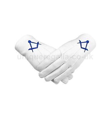 Masonic Cotton Glove with Blue Machine Embroidery Square and Compass