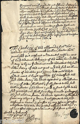 1680 Bond British Document On Paper Black Seal And Signed