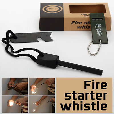 Magnesium Fire Starter Ruler Whistle Survival Tool Kit Outdoor Camping Living