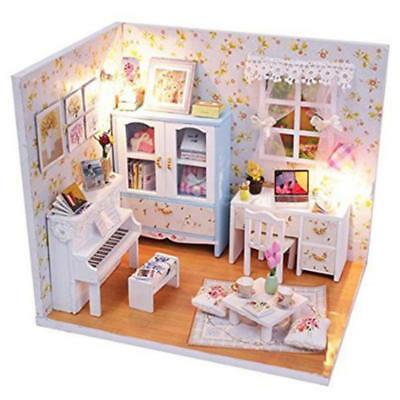 Hot Dollhouse Miniature DIY Kit with Cover and LED Wood Toy Doll House Room Gift