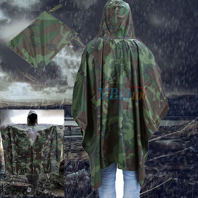 Waterproof Army Hooded Ripstop Coat Cover Festival Rain Poncho Military Camping