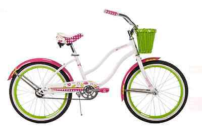 Huffy Cranbrook Cruiser Bike 20 inch Bikes for Girls, White Bicycles with Basket