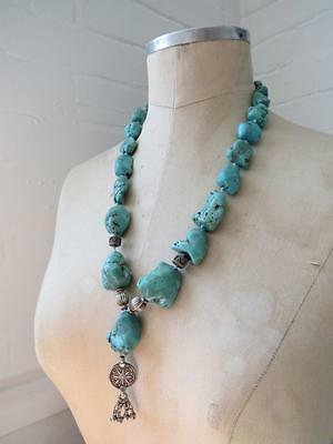 Vintage Chinese Large Turquoise Nugget Bead Necklace Sterling Silver Details