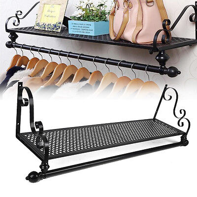 New Retro Metal Clothes Rail Wall Mounted Garment Hanging Rack & Shelf Wardorbe
