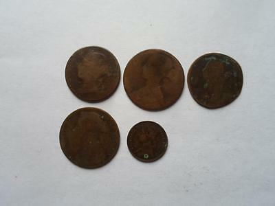 Victoria Farthing & Four Other Victoria Coins