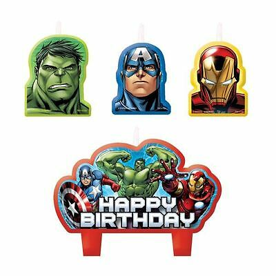 4 Marvel's Avengers Heroes Children's Party Birthday Cake Toppers Candles