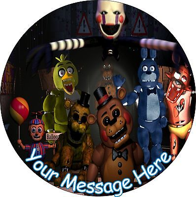 """Five Nights At Freddys 7.5"""" Round Icing Cake Topper"""