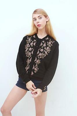 Vtg Retro Black Gold Floral BEADED SOFT LAMBSWOOL WOOL Cardigan Sweater S M