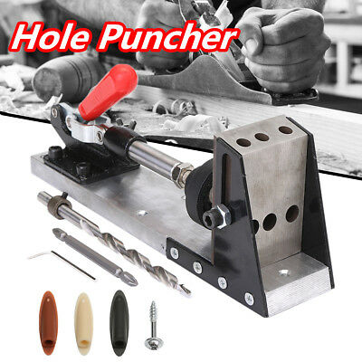Pocket Hole Puncher Drill Jig Carpenter Joinery System Woodworking Tool W/Wrench
