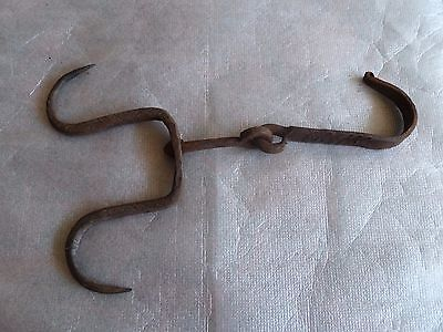 Antique 18c  Double Hook Hanger Hand Forged Wrought Iron Blacksmith Marked