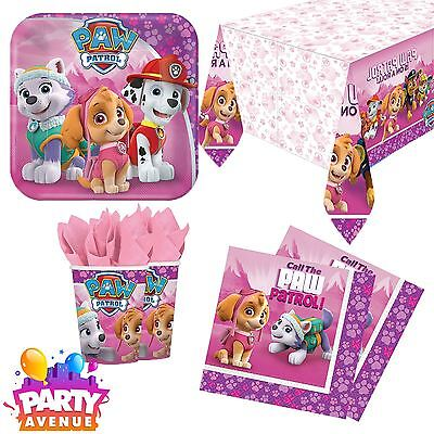 Paw Patrol Pink Tableware Childrens Birthday Party Celebration