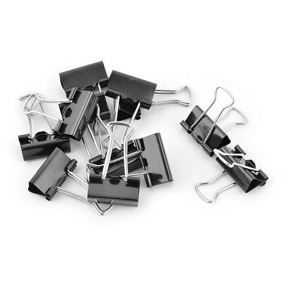 Home Office School Metal Paper File Documents Binder Clips Clamps Black 12pcs