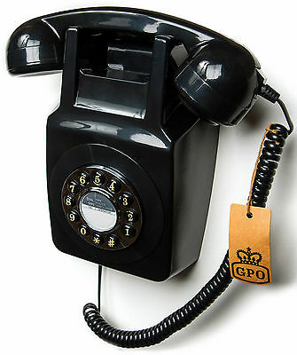 Retro 60's Wall Mounted Phone Vintage Corded Telephone Push Button Dial In Black