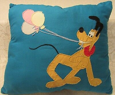 Vintage Disney Mickey Mouse Pluto Pillow Handmade Stitched