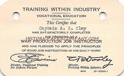 Ww2 Training Within Industry~War Production Job Instructor~Certification Card