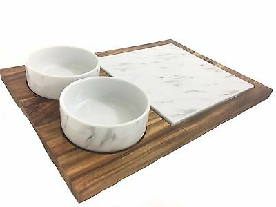 Wooden Board & 2 Porcelain Marble Effect Bowls and Board Chopping Serving Tray
