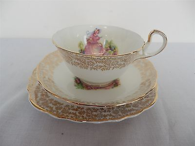 "Imperial Bone China Crinoline Lady ""Pinkie"" 22 KT.Gold Trim TRIO SET (3)"