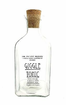 Parlane Dr Funny Bones Giggle Tonic Glass Square Bottle with Corkscrew Lid Gift
