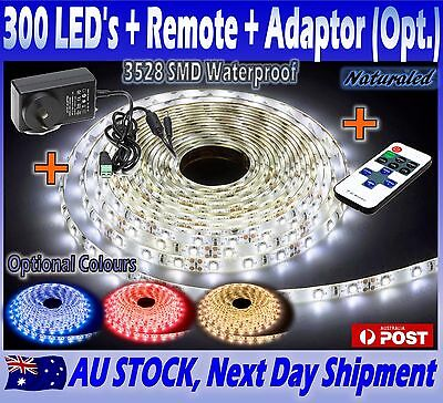Waterproof LED Strip Lights 5M 3528SMD + Remote + Optional Power Adapters