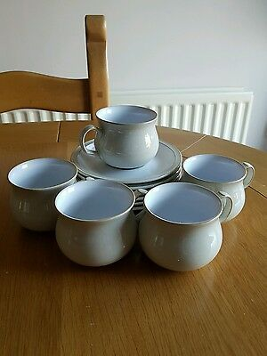 Denby Linen 5 cups and 6 saucers (seconds)
