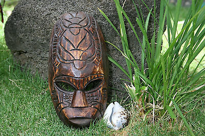 """Hand Crafted FIJIAN TIKI MASK W/ CARVED DOUBLE TURTLE - 8"""" LUCK"""