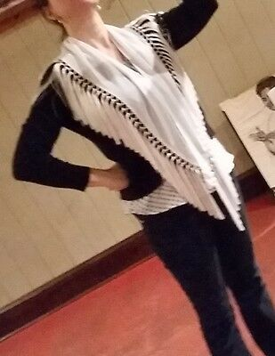 White fringed shawl flamenco mantoncillo for adult or teen