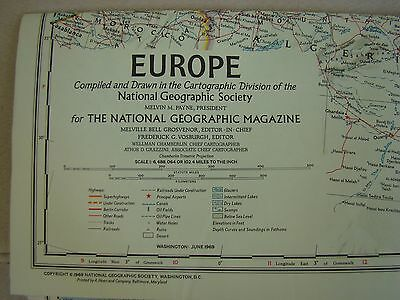 National Geographic Map Of Europe 1969