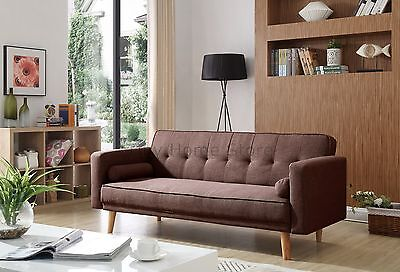 Oslo Luxury Modern 3 Seater Padded Fabric Sofabed With Cushions Sofa bed Settee