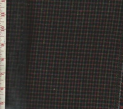 """1 1/4 Yard Colorful Criss Cross Check Vintage Wool Blend Fabric 60"""" Wide"""