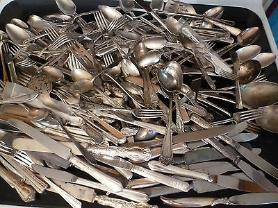 200 Pc. Vintage Lot of Silver Plate Silverware,Mixed Patterns,Mixed Pieces,Box 3