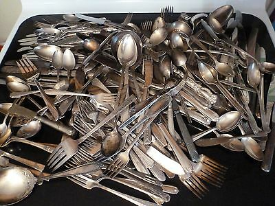 200 Pc. Vintage Lot of Silver Plate Silverware,Mixed Patterns,Mixed Pieces,Box 4