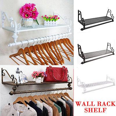 Heavy Duty Metal Clothes Rail Hanging Rack &Shelf Wall Mounted Entrance Storage