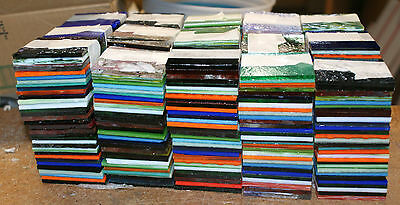 "90 pcs 4+ lbs not scrap STAINED GLASS 2""x 2"" SQUARES mostly UROBOROS hr mosaics"