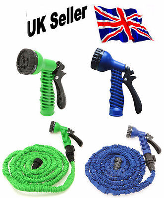25FT,50FT,75FT&100FT EXPANDABLE HOSE PIPE 3x EXPANDING WITH SPRAY GUN GREEN&BLUE