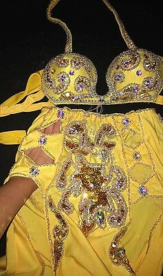 SALE Yellow Egyptian professional belly dance costume