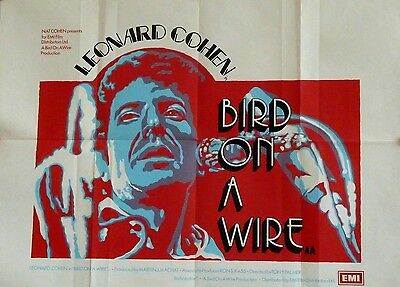 """LEONARD COHEN """"Bird on a Wire"""" rare UK poster (for the original release in 1973)"""