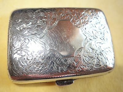 Edwardian solid silver cigarette small card case 1919 William Hair Haseler 66g
