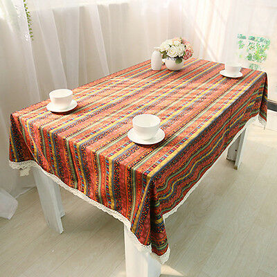 Wipe Clean Cotton&Linen Tablecloth Dining Kitchen Table Cover Protector 8 Size