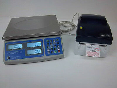 SWS-PCS-60 lb Price Computing Scale-lbs,kgs,ozs w/Godex DT4 Barcode Printer 8040